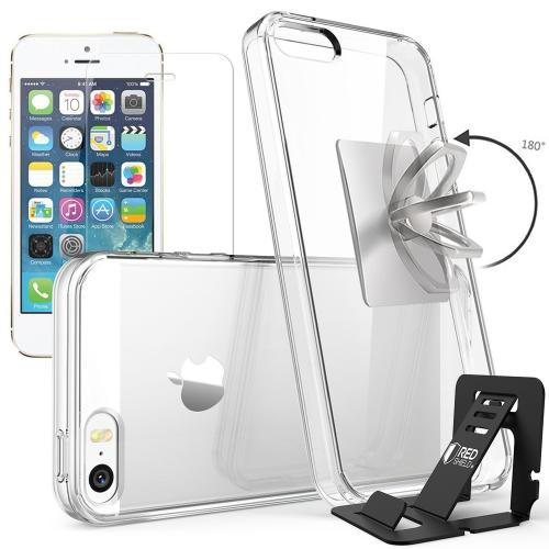 REDshield Apple iPhone 5/5S & SE Bundle: Flexible Crystal Silicone Clear Gel Skin Case + Tempered Glass Screen Protector + Phone Ring Stand Holder + Portable, Foldable Smartphone Stand