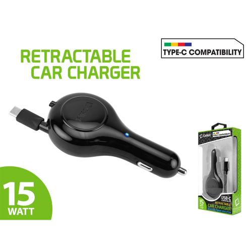 USB Type-C High Powered Retractable Car Charger 15 Watt / 3 Amp [Black]