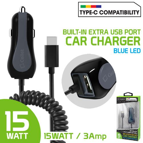 High Powered 3 Amp / 15 Watt Type-C USB Car Charger with Extra USB Port [Black]