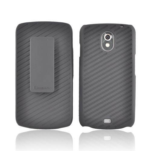 Original Qmadix Samsung Galaxy Nexus Rubberized Hard Case w/ Holster Stand, QM-HLSMI515-SO - Black