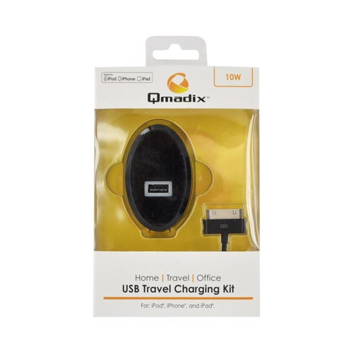 Qmadix Black Apple iPhone/ iPod/ iPad (Non Lightning) USB Travel Charging Kit (2100 mAh), QM-TCH-2.1-AP - MFI Certified