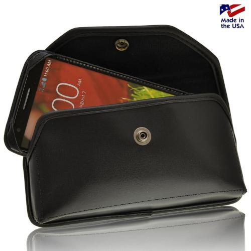 Black Turtleback Ranger Genuine Leather Case w/ Steel Swivel Belt Clip & Holster Combo for LG G2