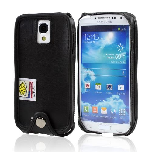 Black Turtleback Ranger Genuine Leather Case w/ Steel Swivel Belt Clip & Holster Combo for Samsung Galaxy S4