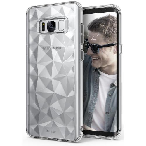 Samsung Galaxy S8 Case, Ringke [AIR PRISM] 3D Pyramid Stylish Diamond Pattern Flexible Jewel-Like Textured Protective TPU Drop Resistant Cover - Clear