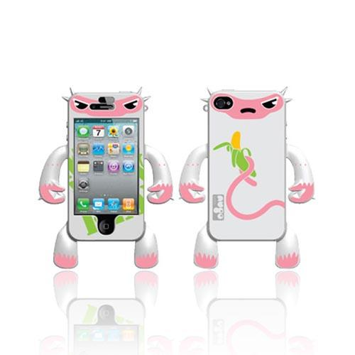 Original Nugo Labs Robotector AT&T/ Verizon Apple iPhone 4, iPhone 4S Silicone Case - White Monkey Mildred