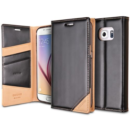 Samsung Galaxy S6 Case, Ringke [Black] DISCOVER Series Genuine Leather Front Cover Wallet Case w/ Free Screen Protector