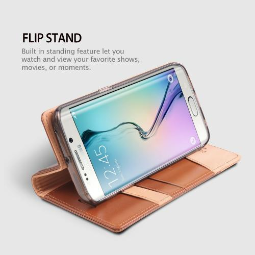 Samsung Galaxy S6 Edge Case, Ringke [Brown] SIGNATURE Series Kickstand Feature Luxury Faux Saffiano Leather Front Flip Cover with Built-in Card Slots, Magnetic Flap w/ Free Screen Protector