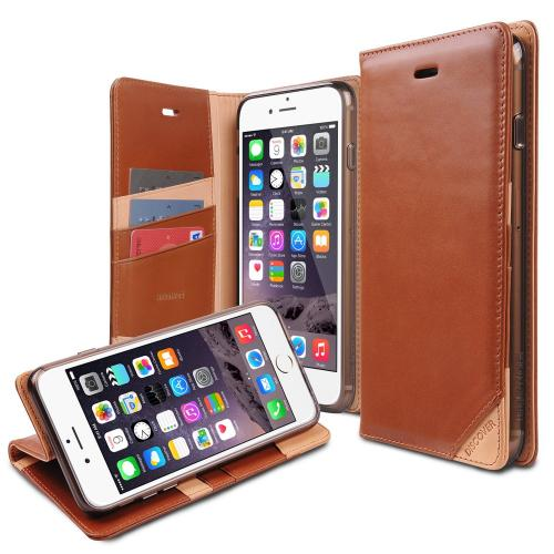 Ringke Brown DISCOVER Series Premium Leather Wallet Case for Apple iPhone 6 Plus