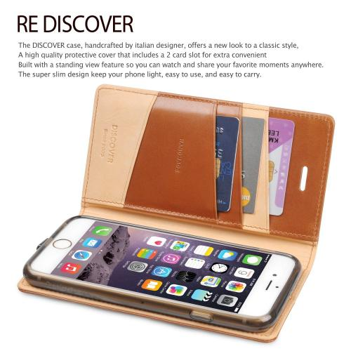 Ringke Black DISCOVER Series Premium Leather Wallet Case for Apple iPhone 6
