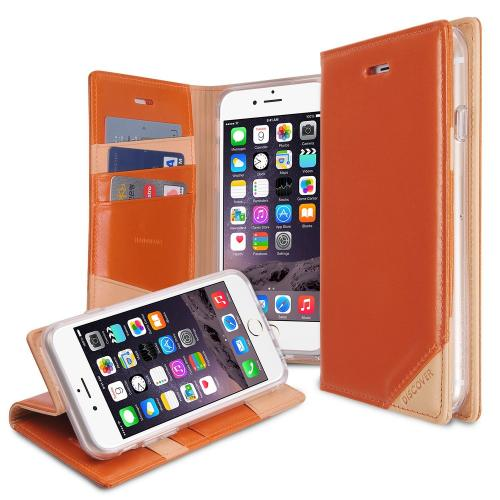 Ringke Orange DISCOVER Series Premium Leather Wallet Case for Apple iPhone 6
