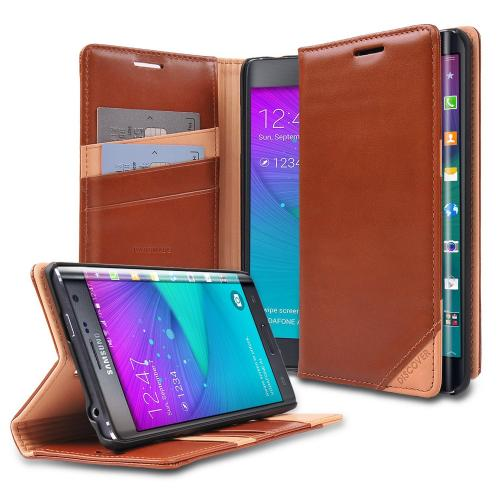 Galaxy Note Edge Wallet Case by Ringke [Brown] Discover Series Featuring Premium Genuine Leather Front Flip with ID Slots [Free HD Screen Protector]