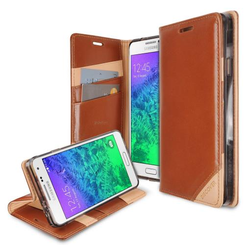 Galaxy Alpha Wallet Case by Ringke [Brown] Discover Series Featuring Premium Genuine Leather Front w/ ID Slots [Free HD Screen Protector]