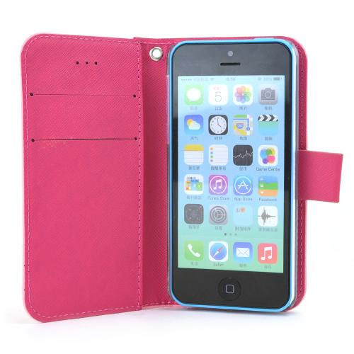 Apple iPhone SE / 5 / 5S  Case, RS Fancy [Baby Pink/Hot Pink]  Faux Leather Diary Flip Hard Case w/ ID Slots & Wrist Strap