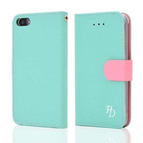 Apple iPhone SE / 5 / 5S  Case, RS Fancy [Mint/Baby Pink]  Faux Leather Diary Flip Hard Case w/ ID Slots & Wrist Strap
