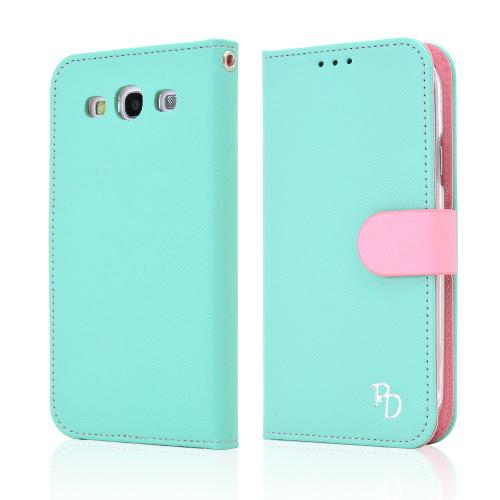 RS Fancy Mint/ Baby Pink Faux Leather Diary Flip Hard Case w/ ID Slots & Wrist Strap for Samsung Galaxy S3