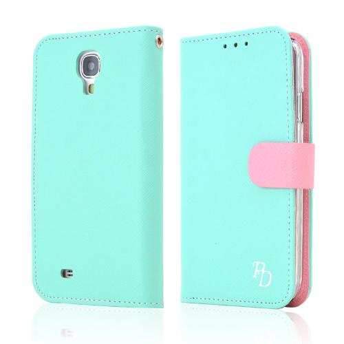 RS Fancy Mint/ Baby Pink Faux Leather Diary Flip Hard Case w/ ID Slots & Wrist Strap for Samsung Galaxy S4