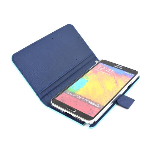 RS Fancy Mint/ Navy Faux Leather Diary Flip Hard Case w/ ID Slots & Wrist Strap for Samsung Galaxy Note 3