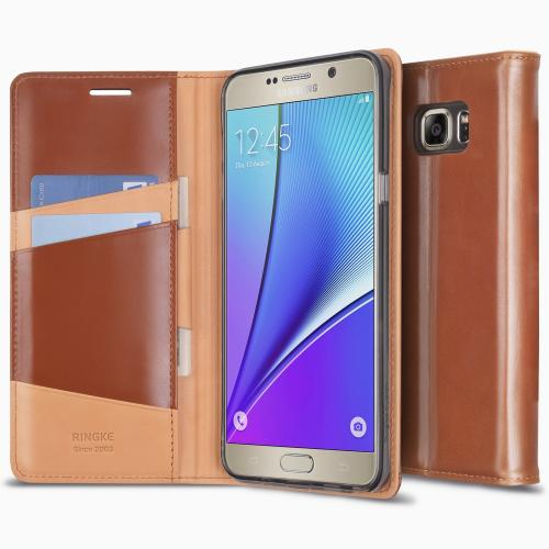 Samsung Galaxy Note 5, Ringke [Brown] SIGNATURE Premium Genuine Leather Standing View Diary Case Flip Cover Wallet Case w/ Free Screen Protector
