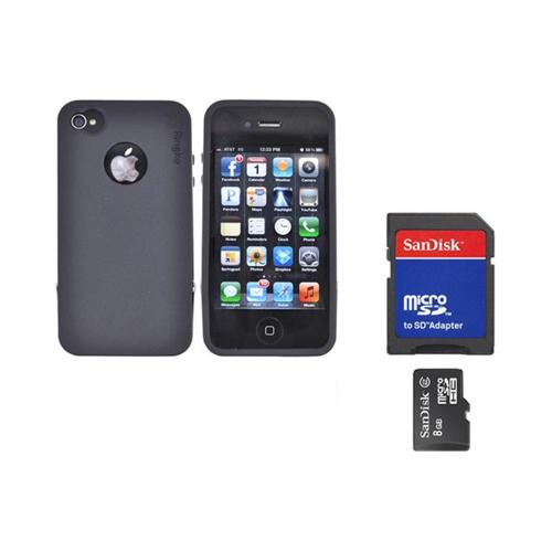Original Rearth Bundle w/ Apple iPhone 4S Ringke Steel Black Silicone Case w/ Steel Bumper, Lanyard, Screen Protector, & 8GB Micro SDHC Memory Card w/ SD Card Adapter