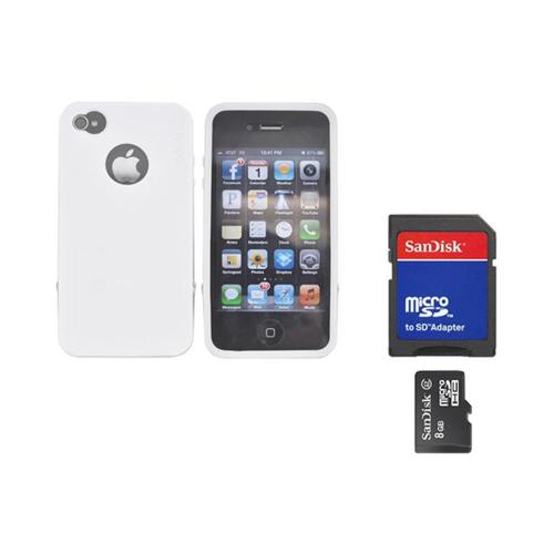Original Rearth Bundle w/ Apple iPhone 4S Ringke Steel White Silicone Case w/ Steel Bumper, Lanyard, Screen Protector, & 8GB Micro SDHC Memory Card w/ SD Card Adapter