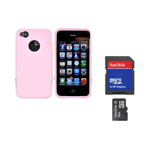 Original Rearth Bundle w/ Apple iPhone 4S Ringke Steel Baby Pink Silicone Case w/ Steel Bumper, Lanyard, Screen Protector, & 8GB Micro SDHC Memory Card w/ SD Card Adapter