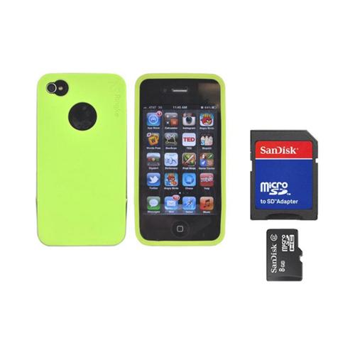 Original Rearth Bundle w/ Apple iPhone 4S Ringke Steel Lime Green Silicone Case w/ Steel Bumper, Lanyard, Screen Protector, & 8GB Micro SDHC Memory Card w/ SD Card Adapter