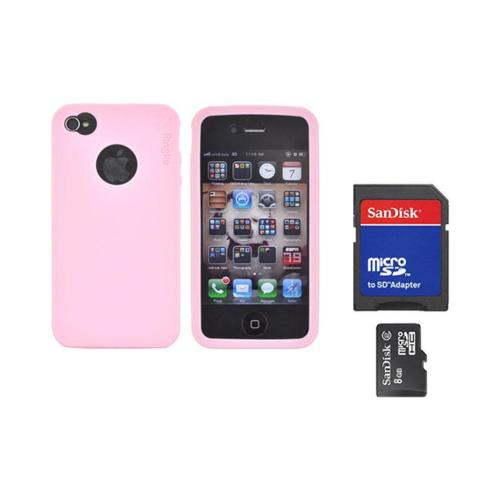 Original Rearth Bundle w/ Apple iPhone 4S Ringke Baby Pink Silicone Case & 8GB Micro SDHC Memory Card w/ SD Card Adapter