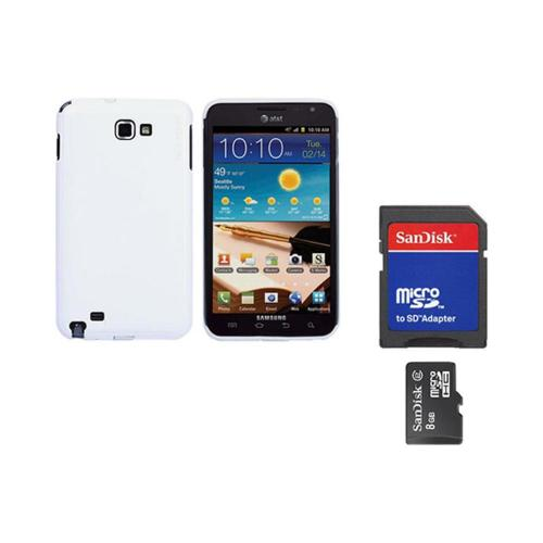 Original Rearth Bundle w/ Samsung Galaxy Note Ringke Solid White Slim Hard Case w/ Screen Protector & 8GB Micro SDHC Memory Card w/ SD Card Adapter