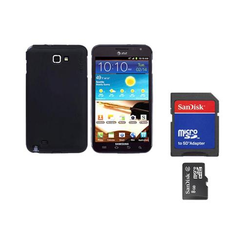 Original Rearth Bundle w/ Samsung Galaxy Note Ringke Matte Black Slim Hard Case w/ Screen Protector & 8GB Micro SDHC Memory Card w/ SD Card Adapter