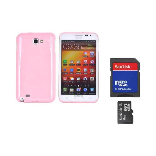 Original Rearth Bundle w/ Samsung Galaxy Note Ringke Baby Pink Slim Hard Case w/ Screen Protector & 8GB Micro SDHC Memory Card w/ SD Card Adapter