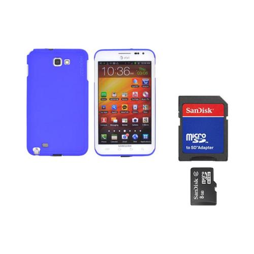 Original Rearth Bundle w/ Samsung Galaxy Note Ringke Blue Slim Hard Case w/ Screen Protector & 8GB Micro SDHC Memory Card w/ SD Card Adapter