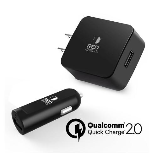 Manufacturers Essential Charger Bundle [Micro USB Wall Charger & USB Car Charger] Redshield Qualcomm Quick Charge 2.0 Silicone Cases / Skins