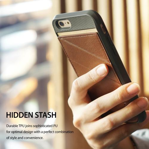Apple iPhone 6/ 6S Case, Ringke [Black] EDGE Series Folding Kickstand Protective TPU Cover Leather Back Case