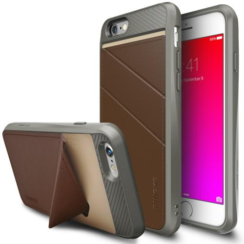 iPhone 6S / 6 Case, Ringke EDGE [Brown] Minimal Wallet [Folding Kickstand] Protective TPU Cover Leather Back Case