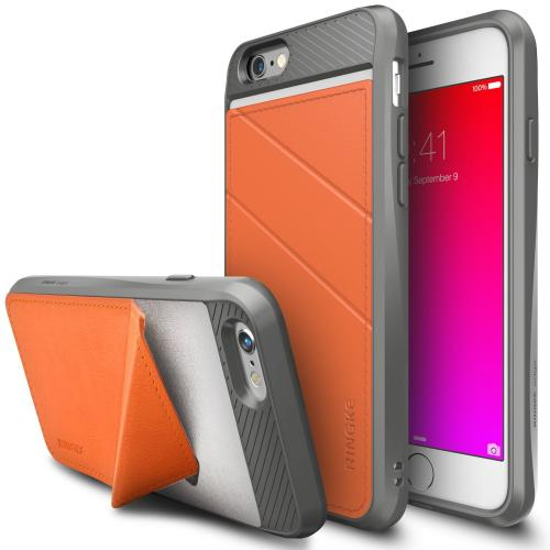 iPhone 6S / 6 Case, Ringke EDGE [Orange] Minimal Wallet [Folding Kickstand] Protective TPU Cover Leather Back Case