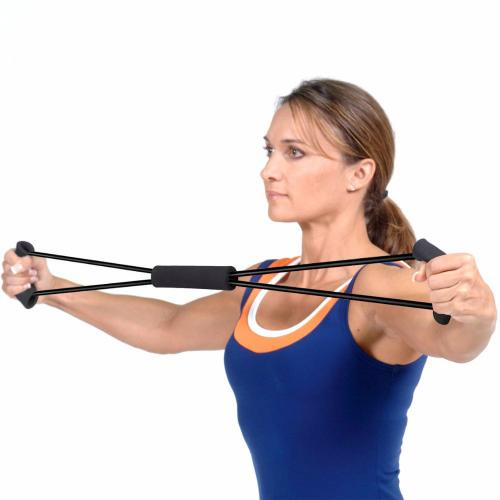 Black Toning Resistance Band; Premium Durable & Lightweight Exercise Rubber Tube Band Rope
