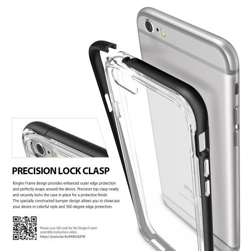 [Apple iPhone 6/6S] Bumper Case, Ringke [Black] FRAME Drop Protection Clear Soft Shock Absorption Protection Bumper Case