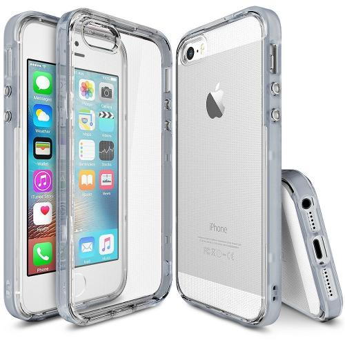 [Apple iPhone SE/5/5S] Ringke Case, Ringke [FrostGray] FRAME Drop Protection Clear Soft Shock Absorption Protection Bumper Case