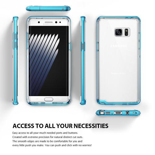 Samsung Galaxy Note 7 Case - [FRAME] Clear Back Shock Absorption Protection Bumper [Ocean Blue]