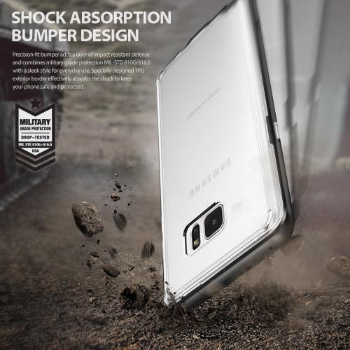 Samsung Galaxy Note 7 Case, [FRAME] Clear Back Shock Absorption Protection Bumper [Black]
