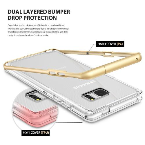 Samsung Galaxy Note 7 Case - [FRAME] Clear Back Shock Absorption Protection Bumper [Royal Gold]