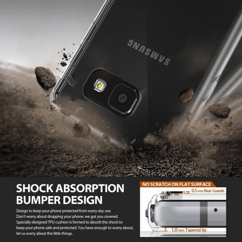 Samsung Galaxy A9 Case, Ringke [Smoke Black] FUSION Series Absorb Shock TPU Bumper Clear Case