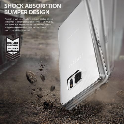 Samsung Galaxy Note 7, Ringke [FUSION] Shock Absorption TPU Bumper Clear Case [Black]