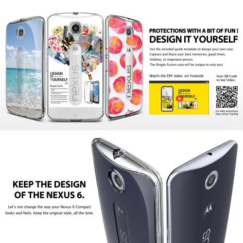 [Google Nexus 6] Case by Ringke | Fusion [Dust Cap/Drop Protection][Clear] Shock Absorption Bumper Premium Hard Case - Eco/DIY Package