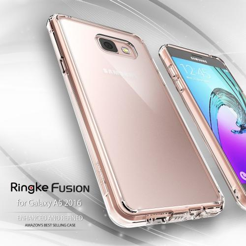 Samsung Galaxy A5 2016 Case, Ringke [Smoke Black] FUSION Series Absorb Shock TPU Bumper Clear Case