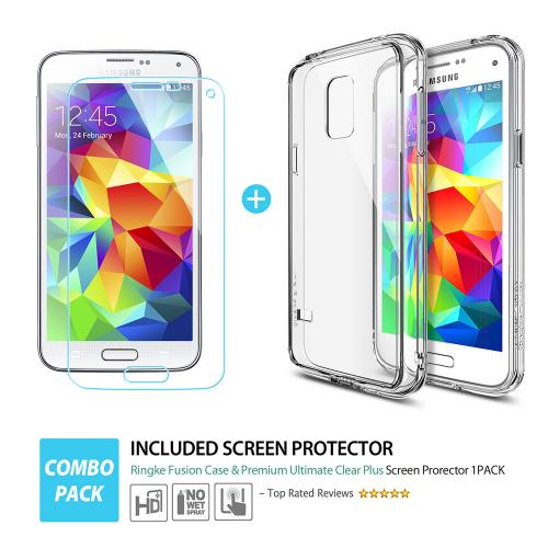[Samsung Galaxy S5 Mini] Case, Ringke [Clear] FUSION Bumper Case [Free HD Screen Protector] - Shock Absorption TPU Bumper Case with Clear Hard Polycarbonate Back for Samsung Galaxy S5 Mini - Retail Packaging