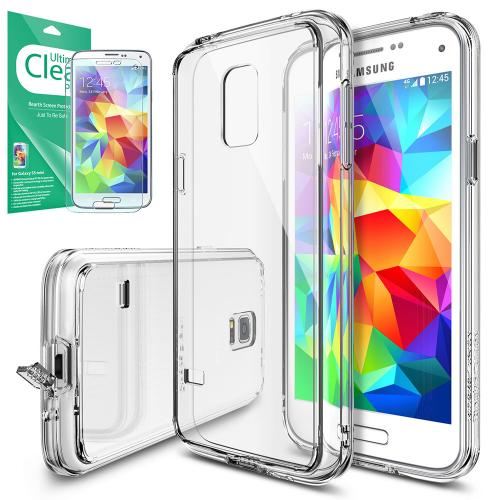 Galaxy S5 Mini Case, Ringke [Clear View] FUSION Bumper Case [Free HD Screen Protector] - Shock Absorption TPU Bumper Case with Crystal Clear Hard Polycarbonate Back for Samsung Galaxy S5 Mini - Retail Packaging