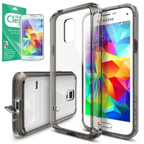 Galaxy S5 Mini Case, Ringke [Smoke Black] FUSION Bumper Case [Free HD Screen Protector] - Shock Absorption TPU Bumper Case with Crystal Clear Hard Polycarbonate Back for Samsung Galaxy S5 Mini - Retail Packaging