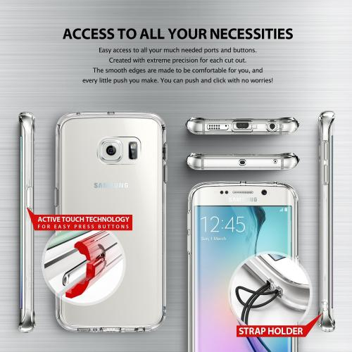 Samsung Galaxy S6 Edge Case, Ringke [Smoke Black] FUSION Series Slim & Protective Crystal Glossy Snap-on Hard Polycarbonate Plastic Case Cover w/ Free Screen Protector