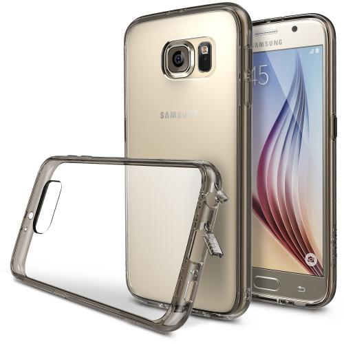 Galaxy S6 Bumper Case by Ringke [Smoke Black] Fusion Series Featuring Shock Absorption TPU Bumper with Hard Polycarbonate Back & Screen Protector